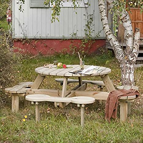 Amazing Picnic Table Orbit 1100 Bench Set Round Wooden Garden Fsc 100 Certified Pine Pabps2019 Chair Design Images Pabps2019Com