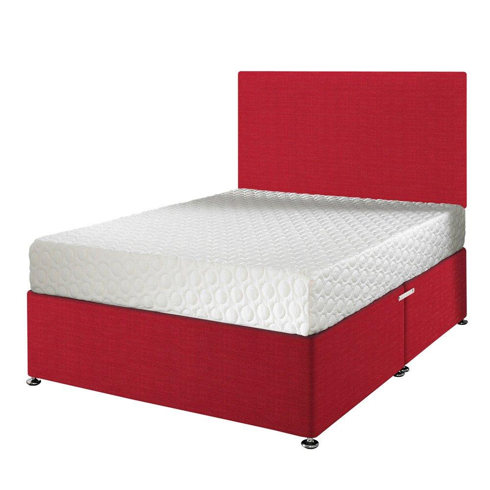 Happy Beds Impressions Cool Indigo orthopädischen Memory Foam Matratze mit abnehmbarer Bezug mit Reißverschluss/Stoff Diwan Basis/verschiedene Schublade Optionen/Uni Kopfteil, Rot, Einfach (90 x 190 cm)