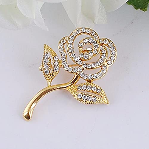 New Arrival Crystal Rose Flower Brooch kc Gold Elegant Brooches & Pins Cute Fashion Jewelry 9aLiL