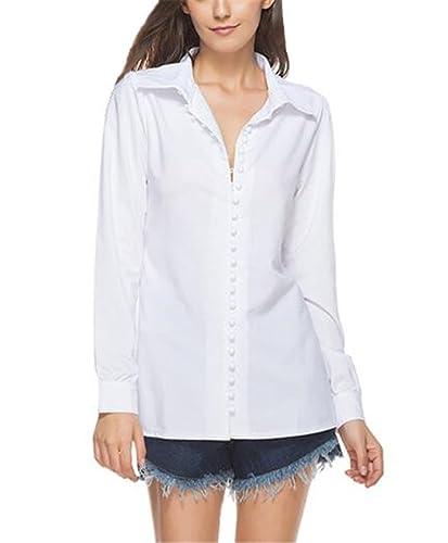 Tayaho Camisetas Mujeres Camisa Manga Largo De Botones T-Shirt Color SÓLido Cardigan Tops Largo Eleg...