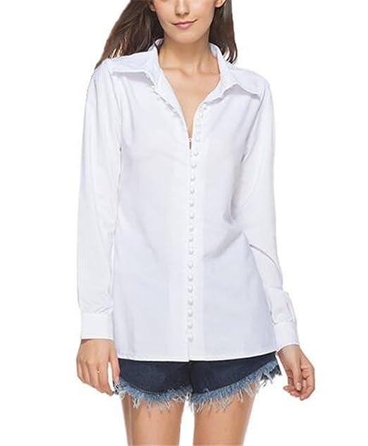 Tayaho Camisetas Mujeres Camisa Manga Largo De Botones T-Shirt Color SÓLido Cardigan Tops Largo
