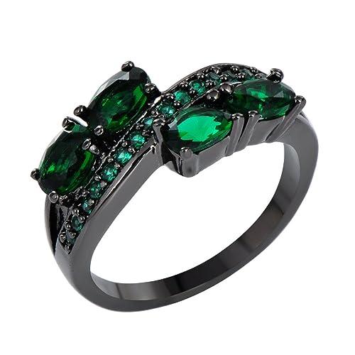 junxin negro oro verde esmeralda CZ puede Birthstone Anillo Boda Oval corte redondo Size6/7