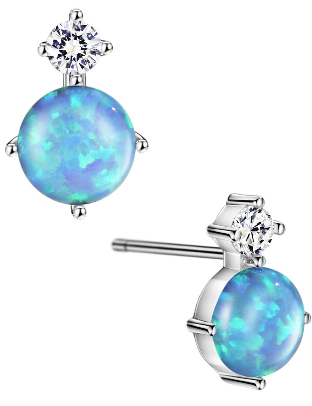 Mints Opal Stud Earrings Cubic Zirconia Sterling Silver Fine Jewelry For Women