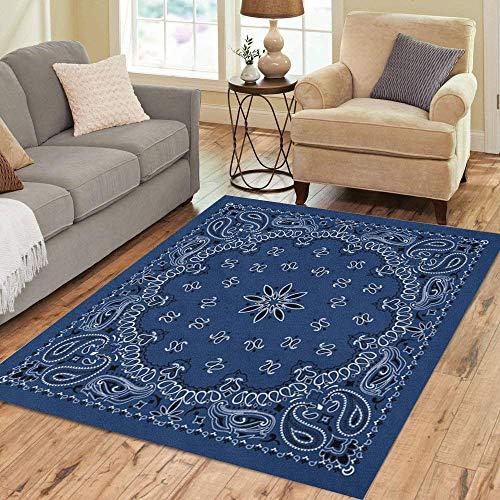 Pinbeam Area Rug Colorful Pattern Blue Paisley Bandana Border Scarf Black Home Decor Floor Rug 3' x 5' Carpet