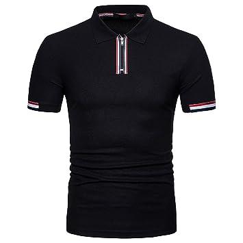 Costuras Cremallera de Hombres Camiseta DE Manga Corta Polo ...