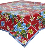 Freckled Sage Hawaii Red Oilcloth Tablecloth with Blue Gingham Trim You Pick the Size