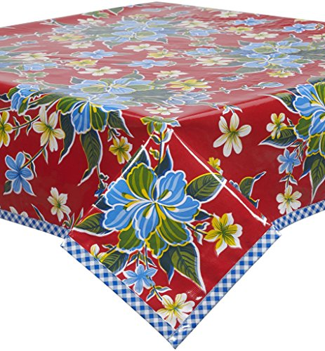 Freckled Sage Hawaii Red Oilcloth Tablecloth with Blue Gingham Trim You Pick the Size by Freckled Sage Oilcloth Products