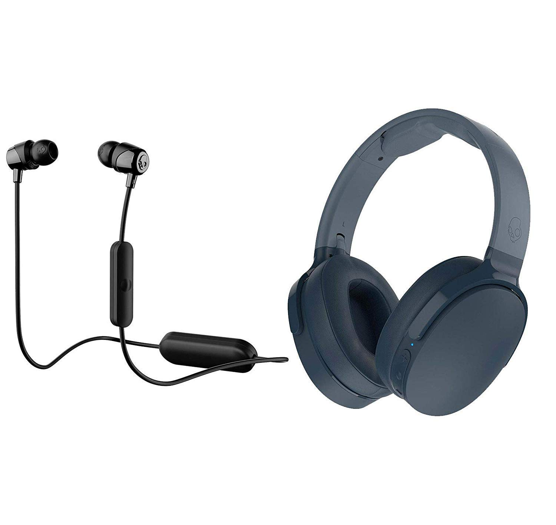Skullcandy HESH 3 Noise Canceling Over-Ear Wireless Bluetooth Headphone Bundle with Skullcandy Jib Bluetooth Wireless in Ear Earbuds – Blue, Black