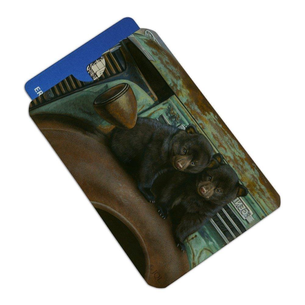 Black Bear Cubs on Vintage Car Credit Card RFID Blocker Holder Protector Wallet Purse Sleeves Set of 4
