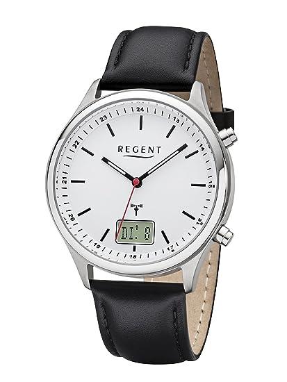 Regent Hombre - Radio reloj reloj de pulsera banda de acero inoxidable analógico digital cuarzo Cuero Negro Ba de 449: Amazon.es: Relojes