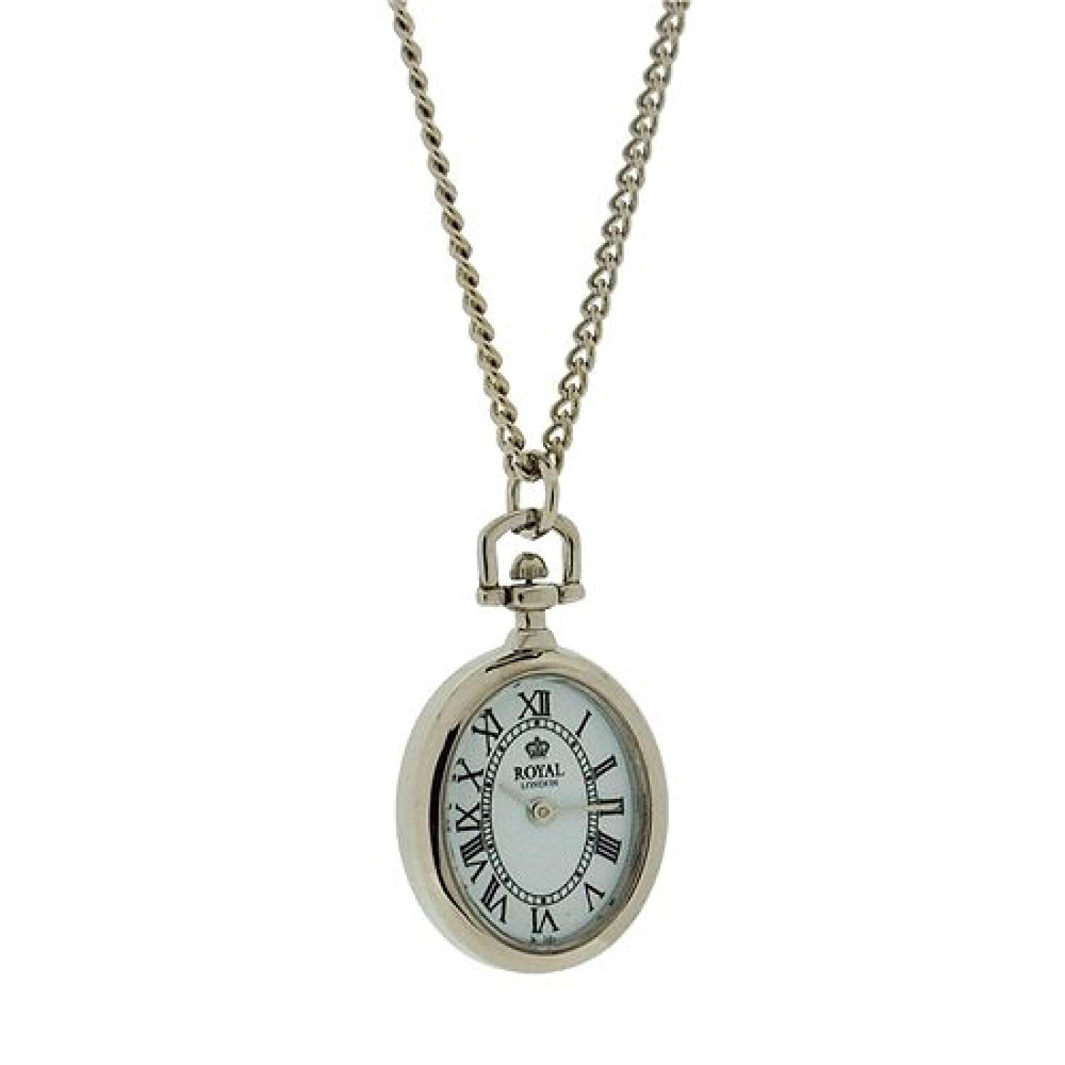 Royal London Ladies Open Faced Silvertone Pendant Watch Necklace On 26'' Chain