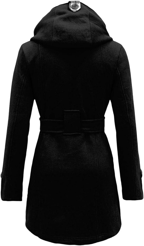 NOROZE Womens Long Sleeve Belted Button Fleece Coat Size S M L XL 12 14 16 18 20 22