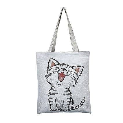 20e47b518a Borsa Shopping Fmedia per Donne con gatto Borsa Shopper per la Spesa  Riutilizzabile - Regalo per Amanti dei Gatti (bianca 5): Amazon.it: Casa e  cucina
