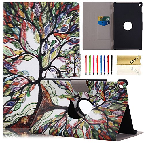 (Dteck Ultra Thin Lightweight 360 Rotating Stand Case Cute Design PU Leather Cover with Auto Wake/Sleep for All-New Amazon Fire HD 8 6th Gen 2016 Release, Love Life Tree)