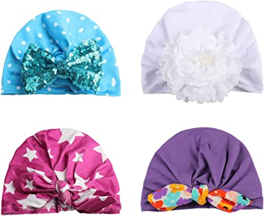 Newborn Baby Sequin Knotted Head Cap Bowknot Hairband Bow Cap Elastic Stretch Beanie Hat