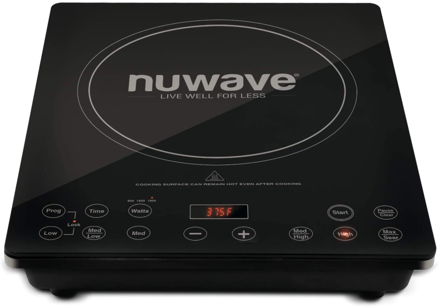NuWave Precision Induction Cooktop Pro Chef Commercial-Grade NSF-Certified 1800-watt Induction Cooktop With Fast, Safe, Powerful Induction Cooking Technology, Automatic Shutoff, Programmable Stage Cooking Capabilities, Delay Feature & Temperature Range Between 100°F and 575°F, Adjustable In 5° Increments