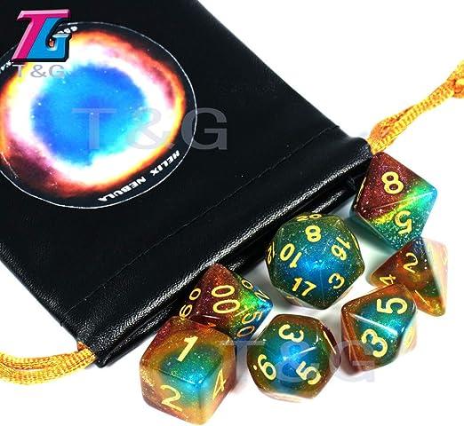 TGWCJDBB Dado de Juego estándar,Cosmic Galaxy Concept Dice 7 Piezas Juegos de rol Accesorios de Mesa Juego Helix Nebula Temas Boardgame Dice: Amazon.es: Hogar