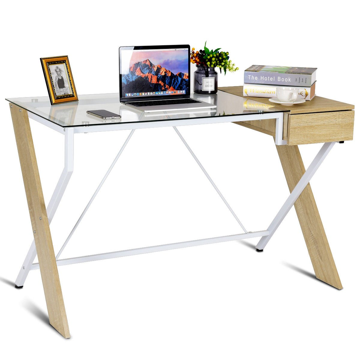 Tangkula glass top computer desk home office desk study writing desk table with storage wooden drawer sturdy steel wood construction modern compact