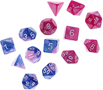 MagiDeal 14 Pieces Multi-Sided Dice Multi-Color Polyhedral Dice Family for D&D Game