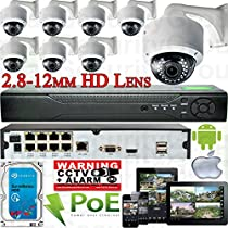 USG Sony DSP 8 Camera Motorized Lens Remote Zoom & Auto-Focus IP PoE Security System CCTV Kit 8x 1080p 2mp 2.8-12mm Dome Cameras + 1x 8 Channel 1080P PoE NVR + 1x 4TB HDD FREE PHONE APP