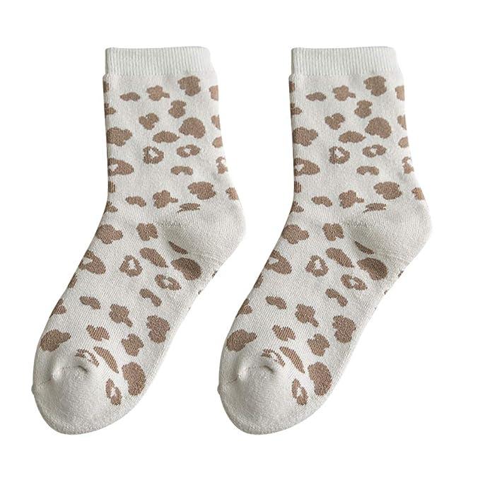 Wongfon Frauen Dicke Leopard Baumwolle Socken Elastische Damen