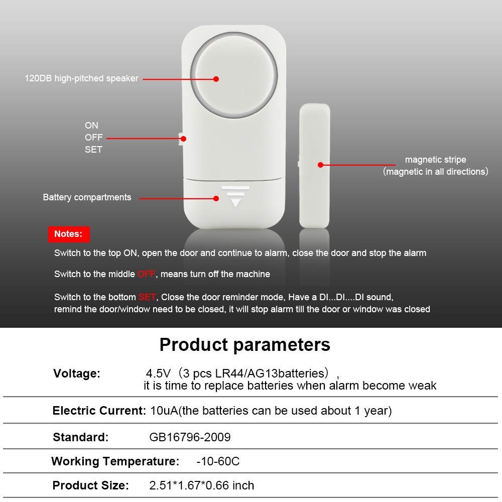 Shackcom Door Window Alarm, 4 Pack, 120DB Magnetic Burglar Alert Sensor with Bonus 10 Pack Batteries, Wireless Alarms - Loud Door Alarms for Kids ...
