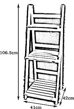 Afanyu Afanyu Tres capas de estantes para flores Macetas de madera Escalera de estanterías plegables Escritorio Bonsai Marco Decorado Estantes Vitrina interior 41 * 42 * 106.5Cm,Blanco,L * H / 41 * 1: Amazon.es: Bricolaje y herramientas
