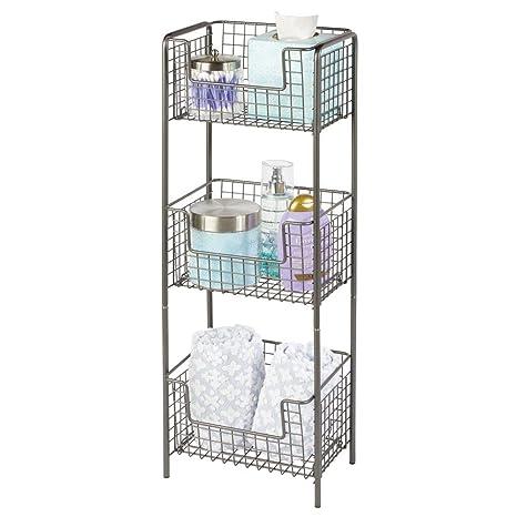 mDesign Estantería de baño de pie en metal – Mueble auxiliar de baño inoxidable con tres