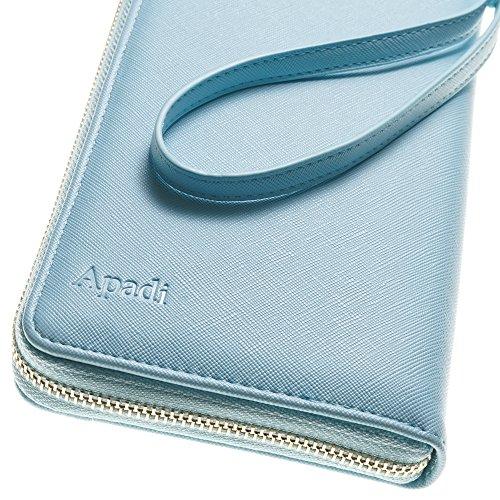 Travel Document Organizer & RFID Passport Wallet Case, Family Passport Holder Id (Blue Sky)