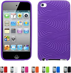 PURPLE Apple iPod Touch 4 4G w/Cameras (iPod Touch 4G, iPod Touch 4th Generation) 16GB 32GB 64GB WAVY Textured Silicone Case Skin Cover + Free Screen Protector (Many Colors Available), PURPLE