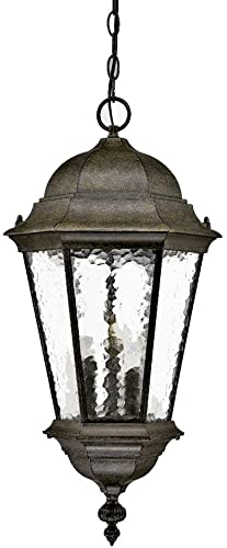 Acclaim 5526BC Telfair Collection 3-Light Outdoor Light Fixture Hanging Lantern, Black Coral