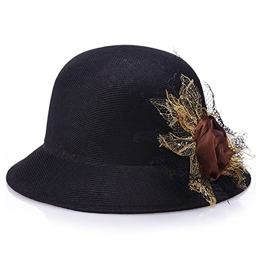 6d32dd7338cab WETOO Women s Linen Hat Sun Protection Bucket Hat Flower Bow Solid Bowler  Hat Caps