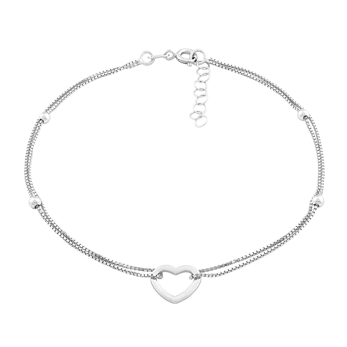 Beaux Bijoux Sterling Silver Italian 9'' + 1'' Extension Double Strand Heart and Beads Anklet