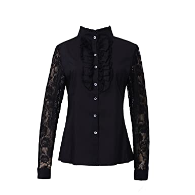 761fe666af Taiduosheng Christmas Gift Women Shirts Lace Ruffle Neck Stand-Up Collar  Button down Blouse Lace
