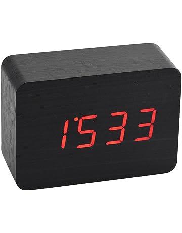 Richer-R Reloj Despertador de Madera Digital Despertador Rectangular Multifuncion,Función de Luces LED