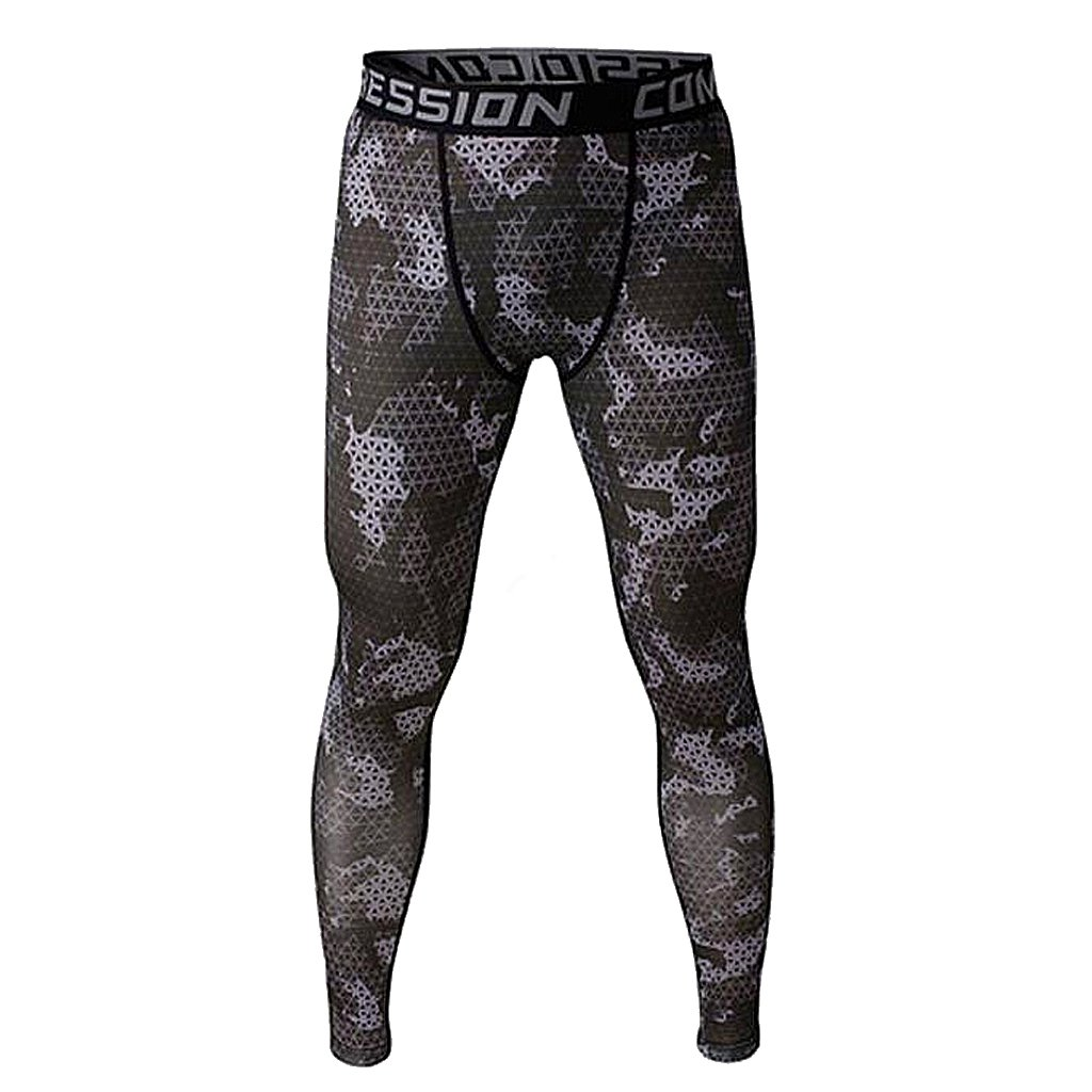 Baoblaze Pack of 2 Camouflage Printed Leggings Stretchy Tights Gym Fitness Pants for Men