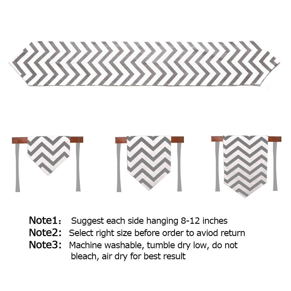 Uphome 1pc Classical Chevron Zig Zag Pattern Table Runner - Cotton Canvas Fabric Table Top Decoration, Grey and White by Uphome (Image #7)