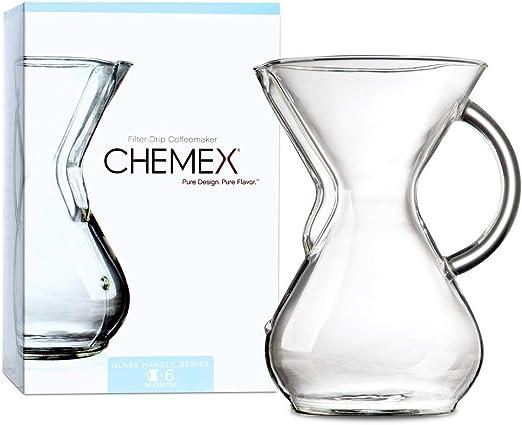 Chemex Cafetera de 6 Tazas (880 ml) con Mango de Cristal: Amazon ...