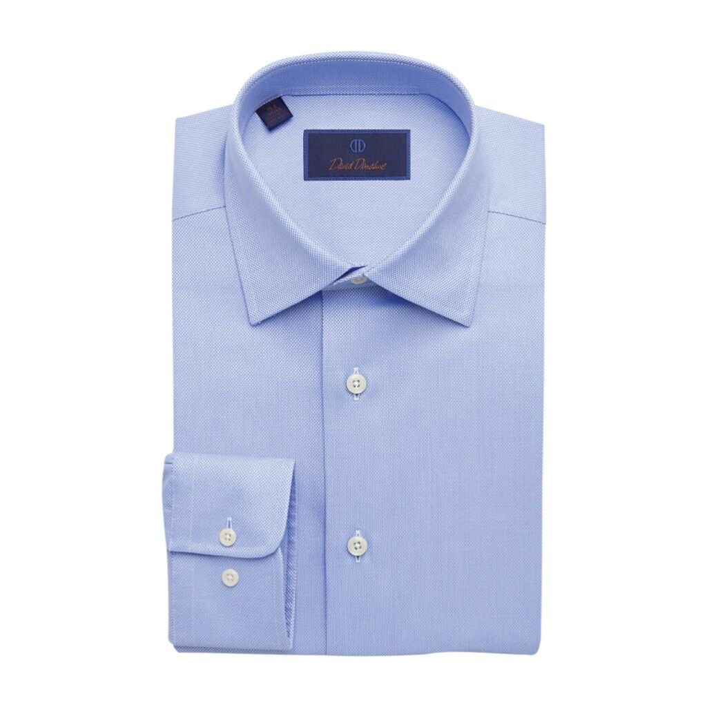 Image of Dress Shirts David Donahue Men's Royal Oxford Barrel Cuff Regular Fit Dress Shirt - Blue