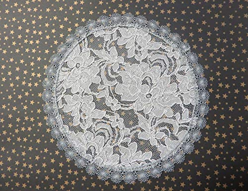 Handmade grey lace doily head cover with delicate scalloped trim (with decorative bobby pin) (Style 524) Exclusively by Elegant Doily