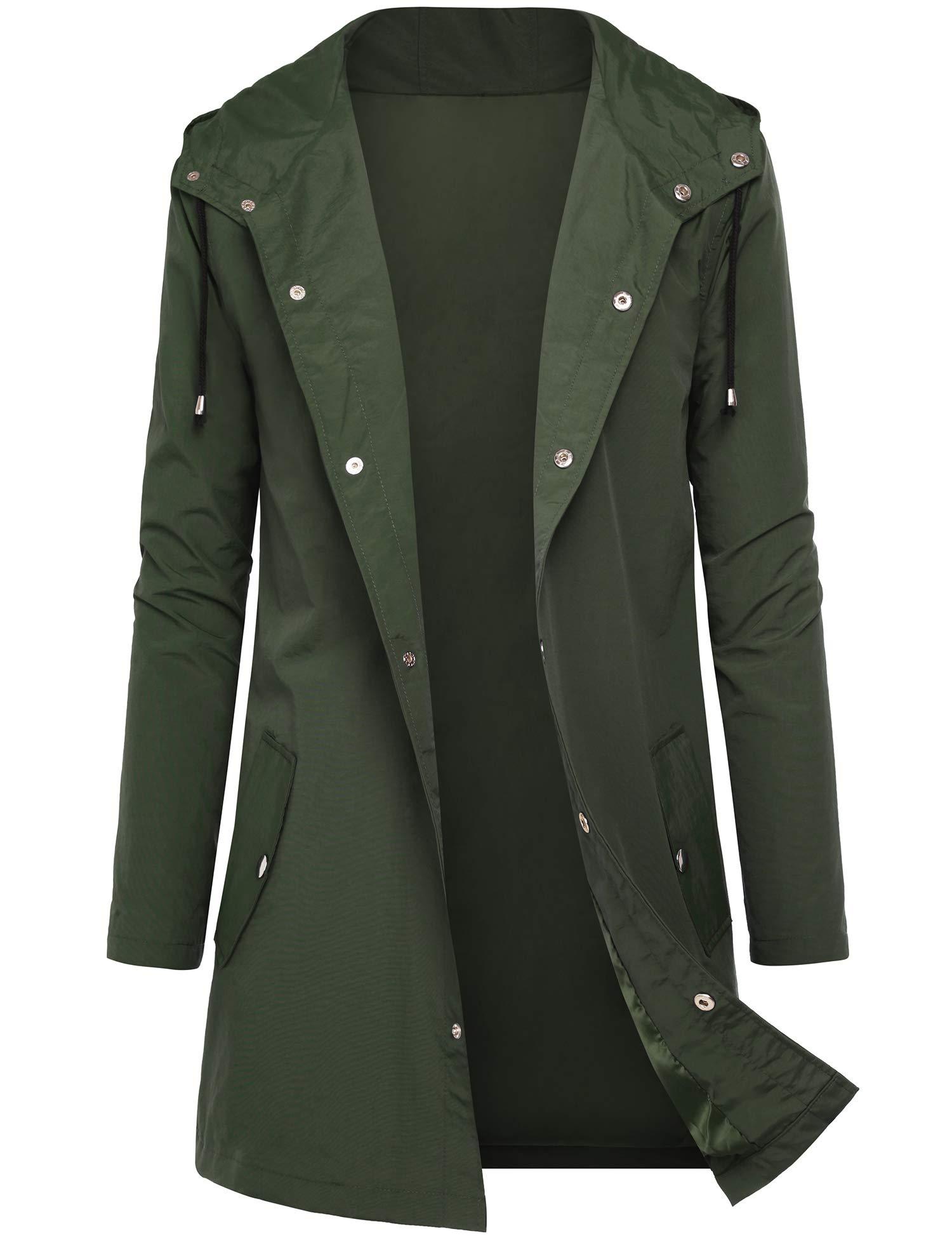 DOSWODE Men Waterproof Raincoat Hooded Windbreaker Lightweight Long Rain Jacket Active Outdoor Trench Green_XL by DOSWODE