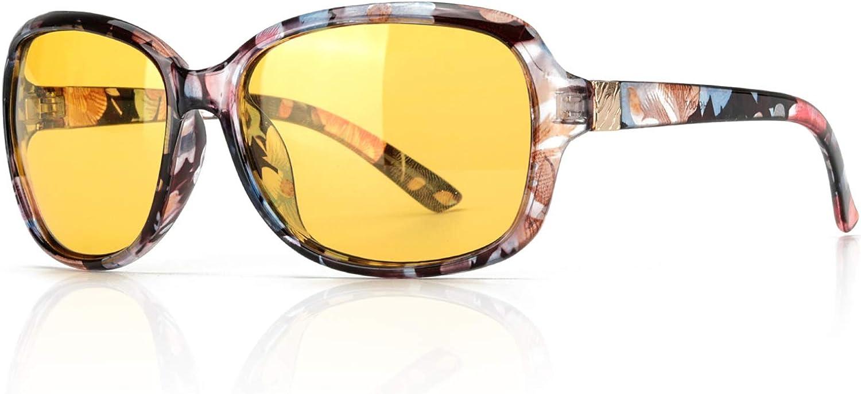 SIPHEW Gafas de Conducción de Visión Nocturna para Mujer, Lente Amarilla Polarizada Antideslumbrante con 100% de Protección UV