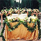 """TRLYC 48""""*72"""" Rectangle Sparkly Wedding Gold Table Cloth Sequin Tablecloth Romantic Party Decor Fabric"""