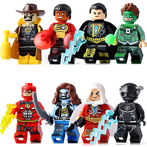 Black Widow Spider Costume Diy (TONGROU 8pcs/set Minifigures Yellow Light the Scarecrow Green Lantern Toys)