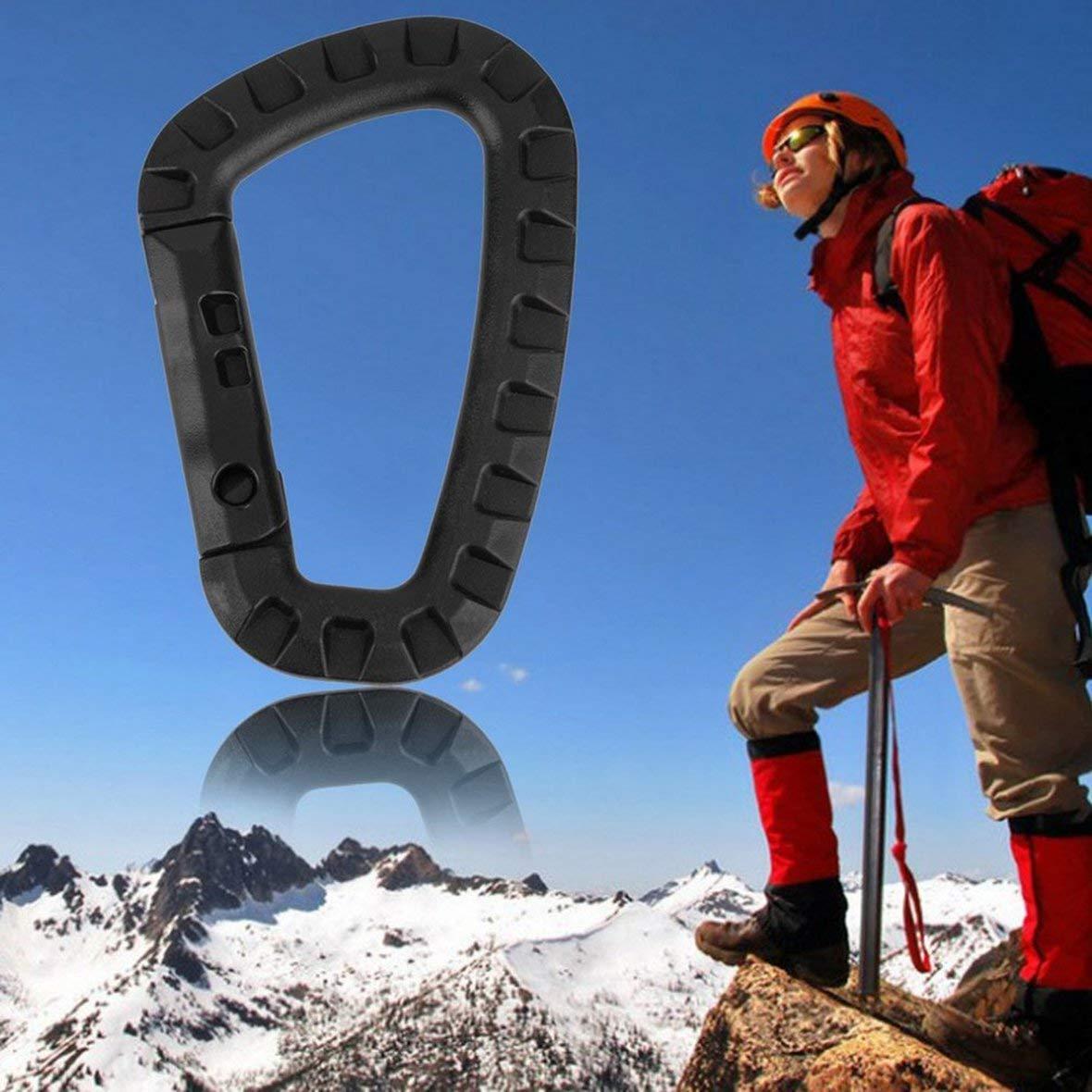 Negro 1pcs D Shape 200LB Alpinismo Hebilla Clip de pl/ástico de acero Escalada Mosquet/ón Colgante Llavero Gancho Fit exterior
