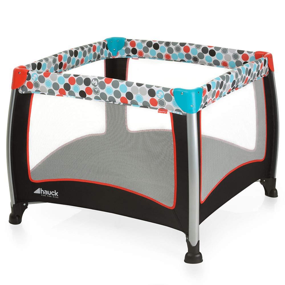 Fisher-Price Laufgitter Play N Relax SQ - faltbarer Laufstall 90x90 cm für sicheres Spielen | auch als Reisebett nutzbar, inklusive Tragetasche - Schwarz Bunt