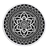 LIPOR Handcraft Round Beach Towel, Bohemia Boho Indian Mandala Hippie pattern Black And White,Thick Round Beach Towel Tapestry Blanket Yoga Mat With Tassels 60 inches