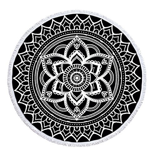 LIPOR Handcraft Round Beach Towel, Bohemia Boho Indian Mandala Hippie pattern Black And White,Thick Round Beach Towel Tapestry Blanket Yoga Mat With Tassels 60 inches by LIPOR