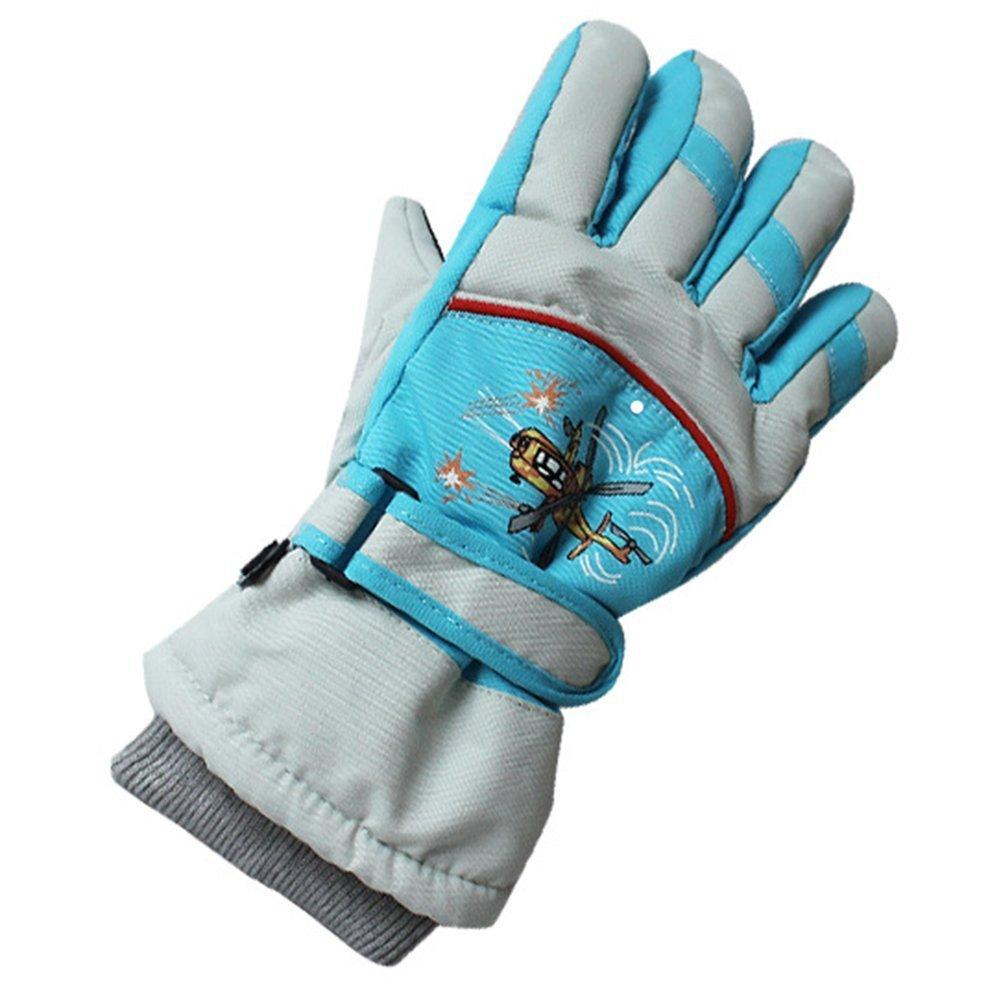 1 Paire Enfant Gants de Ski, Gants de Ski Hiver Pour Snowboard Épais Fille Garçon Gants Hiver Enfant pour Vélo Ecole Les Activités Extérieures Style de l'avion Yundxi