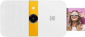 KODAK Smile Instant Print Digital Camera – Slide-Open 10MP Camera w/2x3 Zink Paper, Screen, Fixed Focus, Auto Flash & Photo Editing – White/Yellow